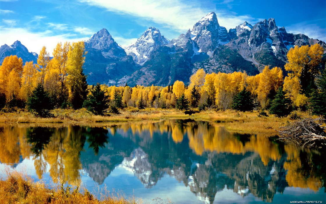 Landscape, Water, Trees, Mountains, Autumn