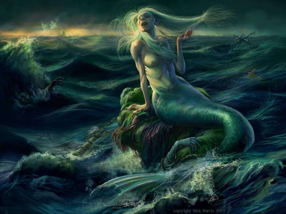Fantasy, Sea, Mermaids, Drawings