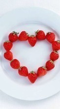 Ladda ner Valentine's day, Food, Berries, Strawberry, Love, Holidays, Hearts bilden till mobilen.