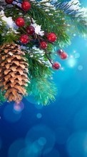 Fir-trees, Background, New Year, Holidays, Christmas, Xmas, Cones till HTC Tattoo