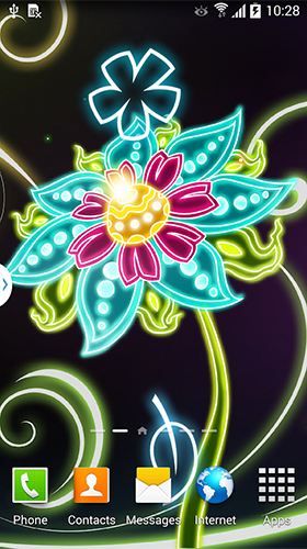 Gratis Blommor live wallpaper för Android på surfplattan arbetsbordet: Neon flowers by Live Wallpapers 3D.